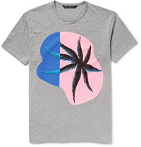 Marc By Marc Jacobs Palm Print Cotton Jersey T Shirt Gray