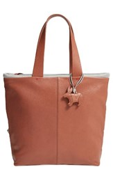 Ed Ellen Degeneres Monterey Leather Tote Brown Dark Umber Heather Grey