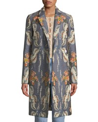 Brock Collection Chandler Notched Collar Striped Floral Jacquard Coat Blue Pattern
