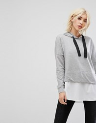 Noisy May Hoodie With Shirting Detail Light Grey Melange