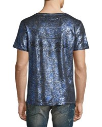 Robin's Jeans Painted Crewneck T Shirt Blue Silver Blue Silver