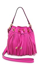 Milly Essex Small Fringe Bucket Bag Pink