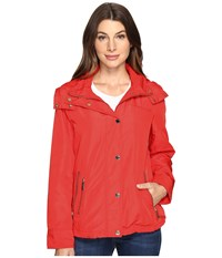 Michael Michael Kors Hooded Snap Front Jacket M322087r Coral Reef Women's Jacket Red