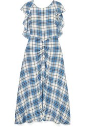 Paper London Dutch Ruched Checked Silk Midi Dress Blue