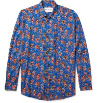 Our Legacy Slim Fit Floral Print Matte Satin Shirt Bright Blue