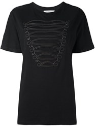 Balmain Pierre Zip Detail T Shirt Black