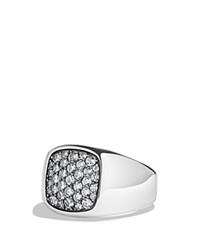 David Yurman Pave Signet Ring With Gray Sapphire In Silver Grey Silver