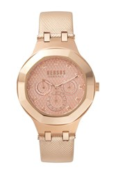 Versus By Versace 'S Laguna City Multifunction Leather Strap Watch 40Mm Rosegold