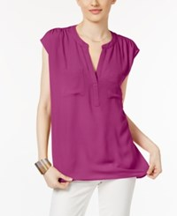 Inc International Concepts Cap Sleeve Contrast Top Only At Macy's Vivid Purple