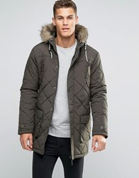 Brave Soul Quilted Parka Jacket With Faux Fur Trim Hood Green