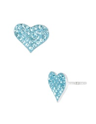 Betsey Johnson Blue Heart Stud Earrings Blue Silver