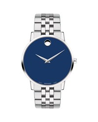 Movado 40Mm Ultra Slim Watch With Bracelet And Blue Museum Dial