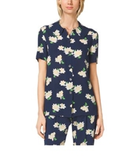 Michael Kors Camellia Print Peter Pan Collar Shirt Indigo White
