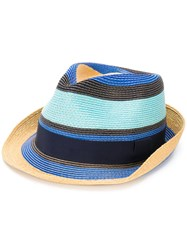 Etro Striped Fedora Hat Multicolour
