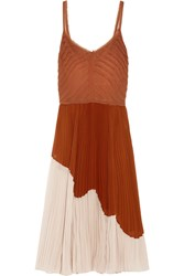 Jason Wu Two Tone Pleated Crinkled Chiffon Midi Dress Camel