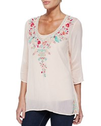 Johnny Was Priscilla Embroidered Tunic Plus Size Blush