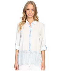 Dylan By True Grit Washed Vintage Cotton Mia Blouse With Lace Hem Pool Blue Women's Blouse
