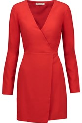 Halston Heritage Wrap Effect Crepe Mini Dress Red