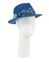 Etro Straw Fedora Hat With Silk Band Navy