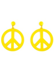 Moschino Peace Sign Earrings Yellow And Orange