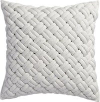 Cb2 Jersey Interknit Ivory 20'' Pillow With Feather Insert