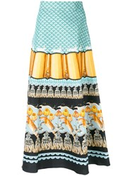 Temperley London Foxglove Printed Midi Skirt Women Cotton Viscose 12 Blue