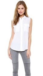 Equipment Sleeveless Slim Signature Blouse Bright White