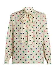 Saint Laurent Polka Dot Print Silk Crepe De Chine Blouse Multi