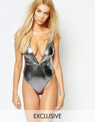 Wolf And Whistle Metallic Twist Swimsuit Pewter 17 Silver