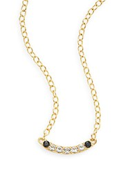 Elizabeth And James Ollie Black Spinel And White Topaz Bar Pendant Necklace Gold