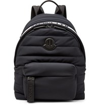 Moncler Logo Webbing And Leather Trimmed Quilted Shell Backpack Black