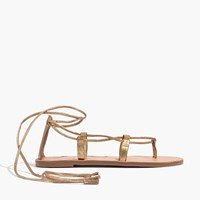 Madewell The Boardwalk Lace Up Sandal In Metallic Leather Gray