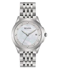 Bulova Diamond Hour Marker Stainless Steel Chronograph Silver