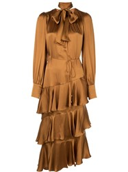 Zimmermann Pussy Bow Midi Dress Gold