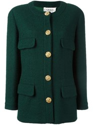 Chanel Vintage Collarless Buttoned Jacket Green