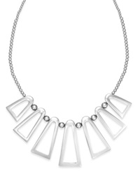 Bar Iii Silver Tone Geometric Frontal Necklace