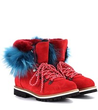 Mr And Mrs Italy Fur Trimmed Suede Ankle Boots Red