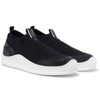 Z Zegna Suede Leather And Techmerino Mesh Slip On Sneakers Navy