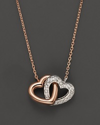 Bloomingdale's Diamond Interlocking Heart Pendant In 14K Rose And White Gold .11 Ct. T.W. Rose Gold White Diamonds