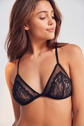 Out From Under Alexia Mesh Lace Triangle Bra Black