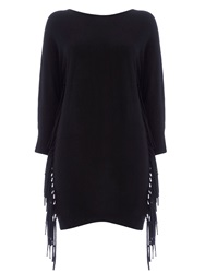 Wallis Black Batwing Fringe Tunic