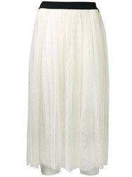 Twin Set Lace Layer Pleated Skirt White