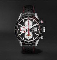 Tag Heuer Carrera Limited Edition Indy 500 Automatic Chronograph 41Mm Steel And Leather Watch Black