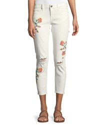 Dex Cross Stitched Embroidered Super Skinny Jeans White