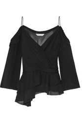Rachel Zoe Renee Off The Shoulder Silk Georgette Top Black