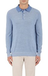 Piattelli Men's Striped Silk Cashmere Polo Sweater Light Blue
