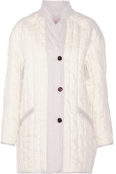 Etoile Isabel Marant Cali Quilted Linen Blend Coat White