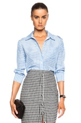 Altuzarra Volpone Crinkled Gingham Top In Blue Checkered And Plaid