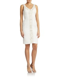 Sue Wong Embellished V Neck Dress White