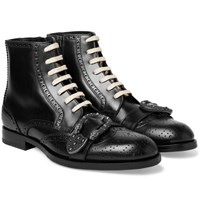Gucci Embellished Leather Brogue Boots Black